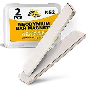 Neodymium Bar Magnets - Rare Earth Magnets Super Strong - N52 Grade (Ndfeb) - 2 Block Magnets in Box