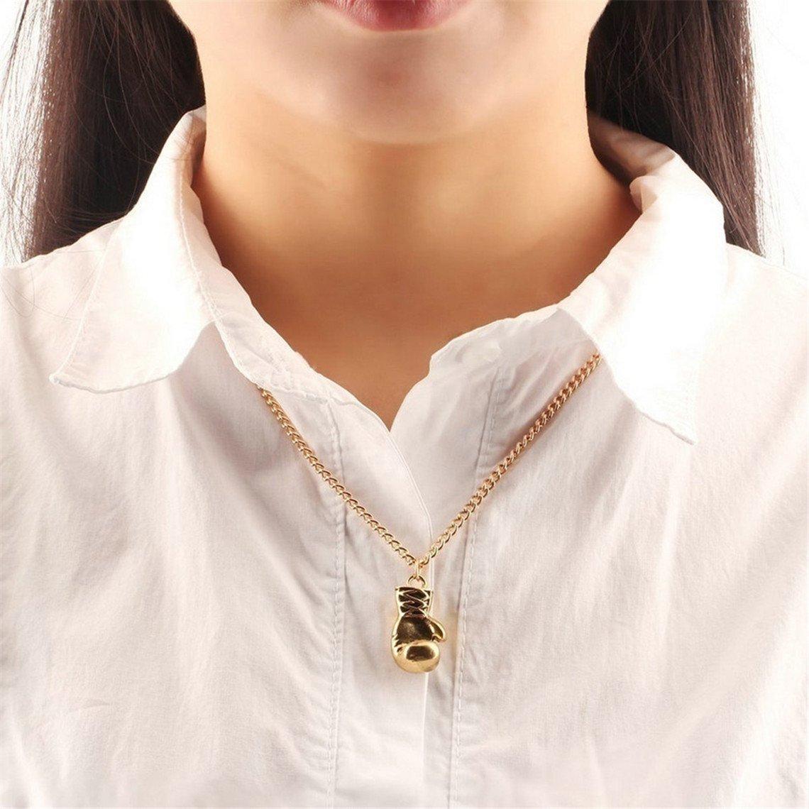 Rurah Men Women Boxing Glove Chain Pendant Necklace Boxing Gloves Shaped Pendant Necklace,Golden