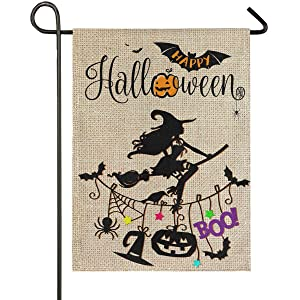 Wamika Halloween Witch Garden Flag 12 x 18 Double Sided Burlap, Spooky Ghost Pumpkin Fall Yard House Flags, Boo Bats Black Cat Outdoor Indoor Banner Halloween Day Party Home Decor