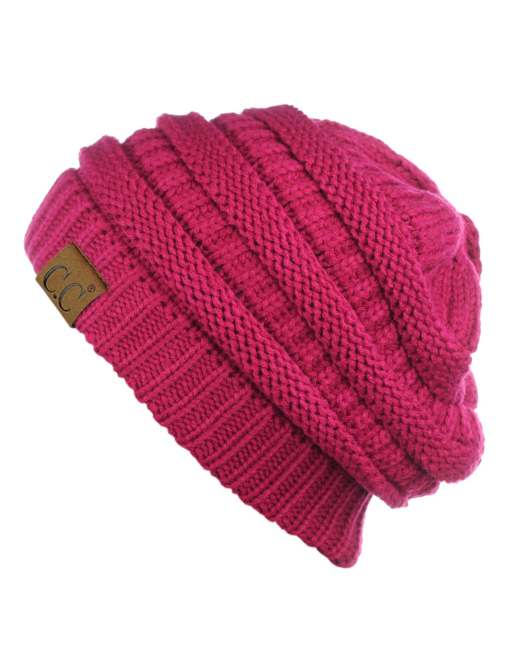 C.C Trendy Warm Chunky Soft Stretch Cable Knit Beanie Skully, Hot Pink