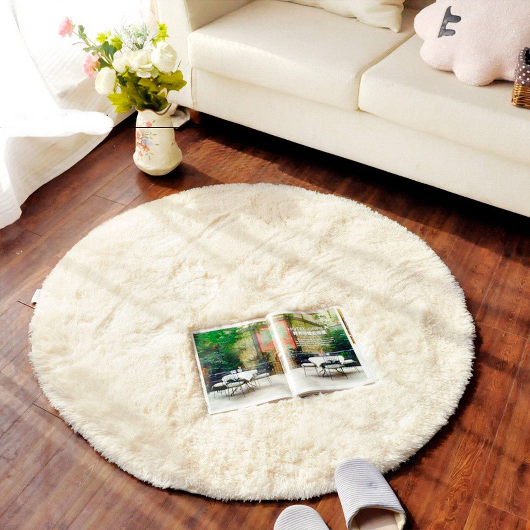 TRUEDAYS 4.5 X 4.5 Feet Circle Round Shaggy Area Rugs and Carpet Soft Carpet Rug for Chair Bedroom Floor, (4.59 X 4.59 Feet)