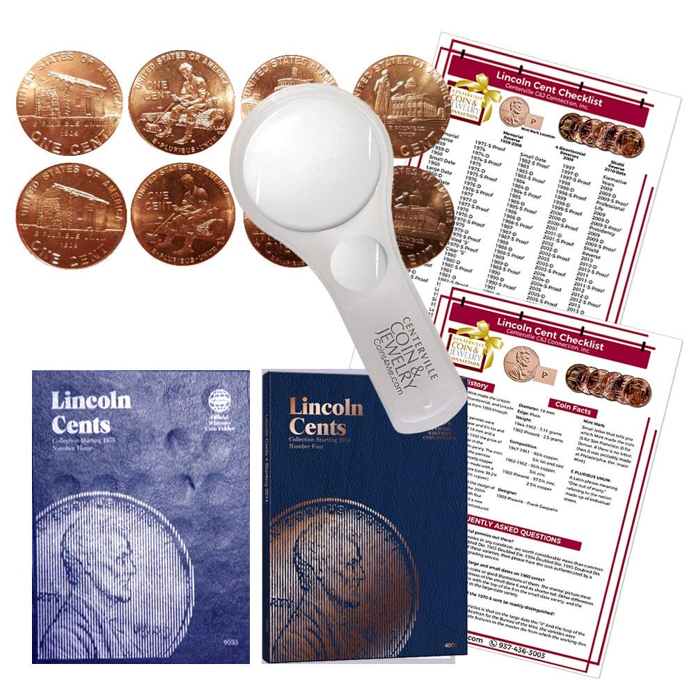Lincoln Penny Starter Collection Kit, with 2009 Varieties, Whitman [9033] Lincoln Cent Folder Vol. 3, [4004] Folder Vol. 4, Magnifier & Checklist, (5 Items) Great Start for Beginner Collectors