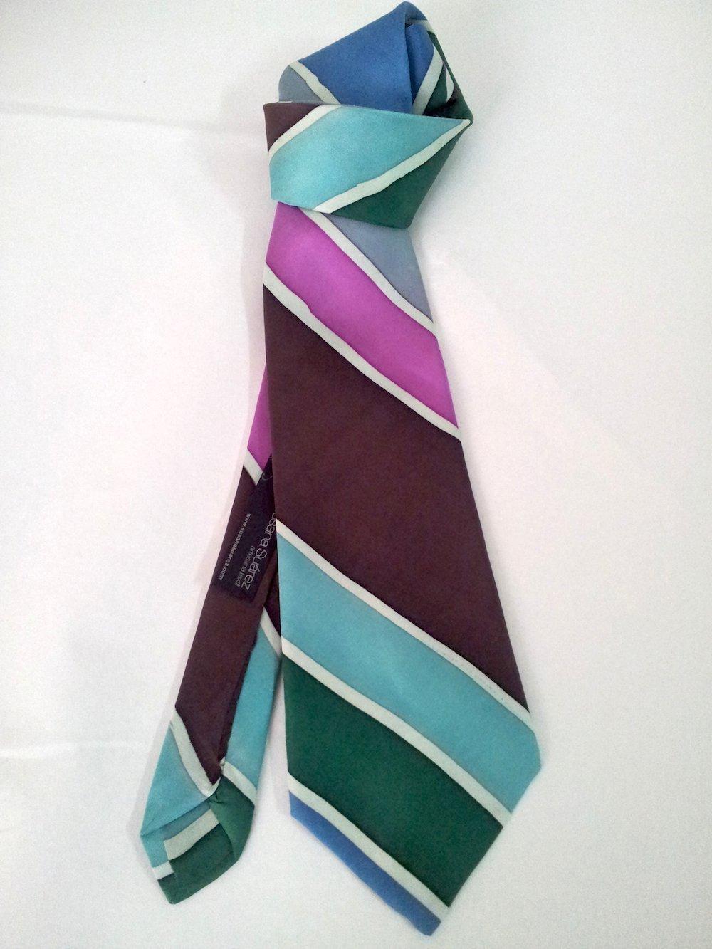 Corbata seda- Corbata de rayas- regalo para hombre- Corbata alegre ...