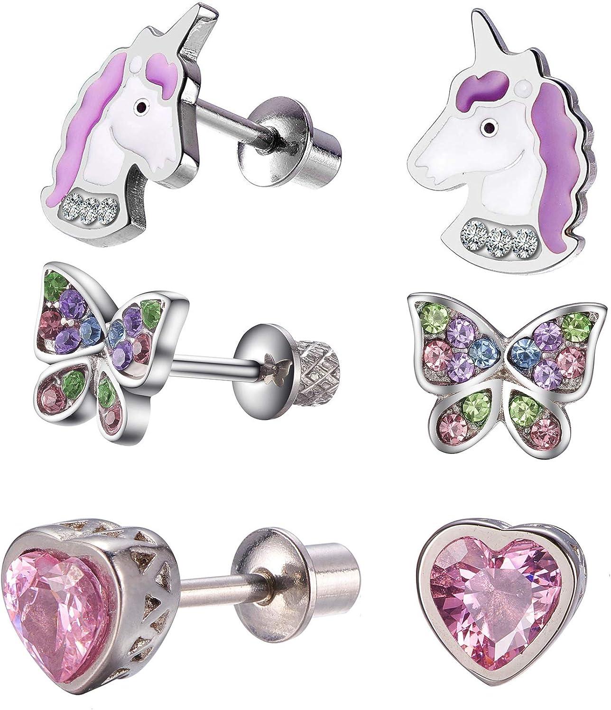 Toddlers Hypoallergenic Unicorn Butterfly Heart Stud Earring Set with Secure Screwback for Kids Little Girls Stainless Steel Ultra Sensitive Screw Back Post Earrings Baby Girls