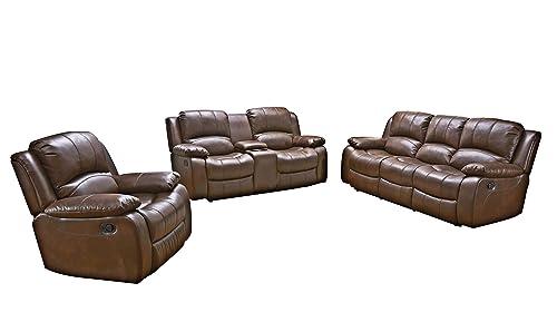 Betsy Furniture 3PC Bonded Leather Recliner Set Living Room Set, Sofa Loveseat Chair Pillow Top Backrest and Armrests 8018 Brown, Living Room Set 3 2 1