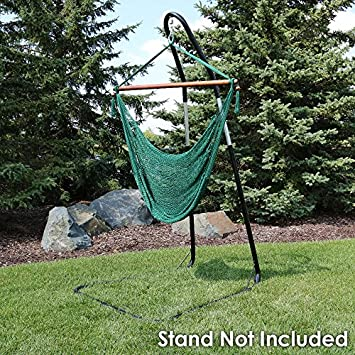 Sunnydaze Hanging Rope Hammock Chair Swing, Extra Large Caribbean, Green – for Indoor or Outdoor Patio, Yard, Porch, and Bedroom