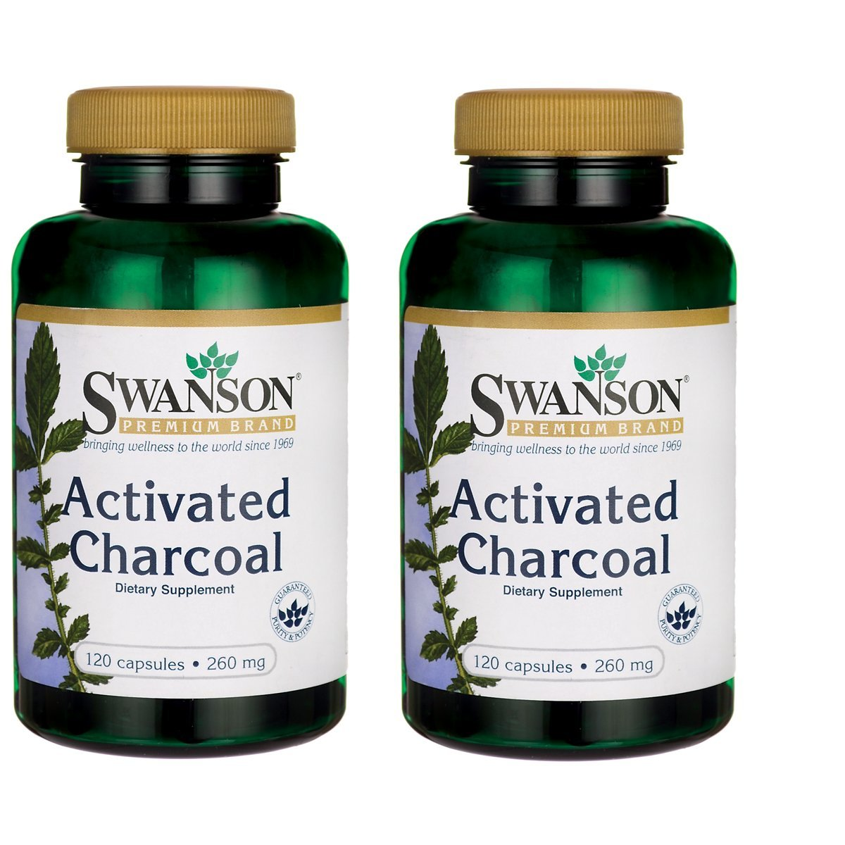 Swanson Activated Charcoal 260 Milligrams 120 Capsules 2 Pack