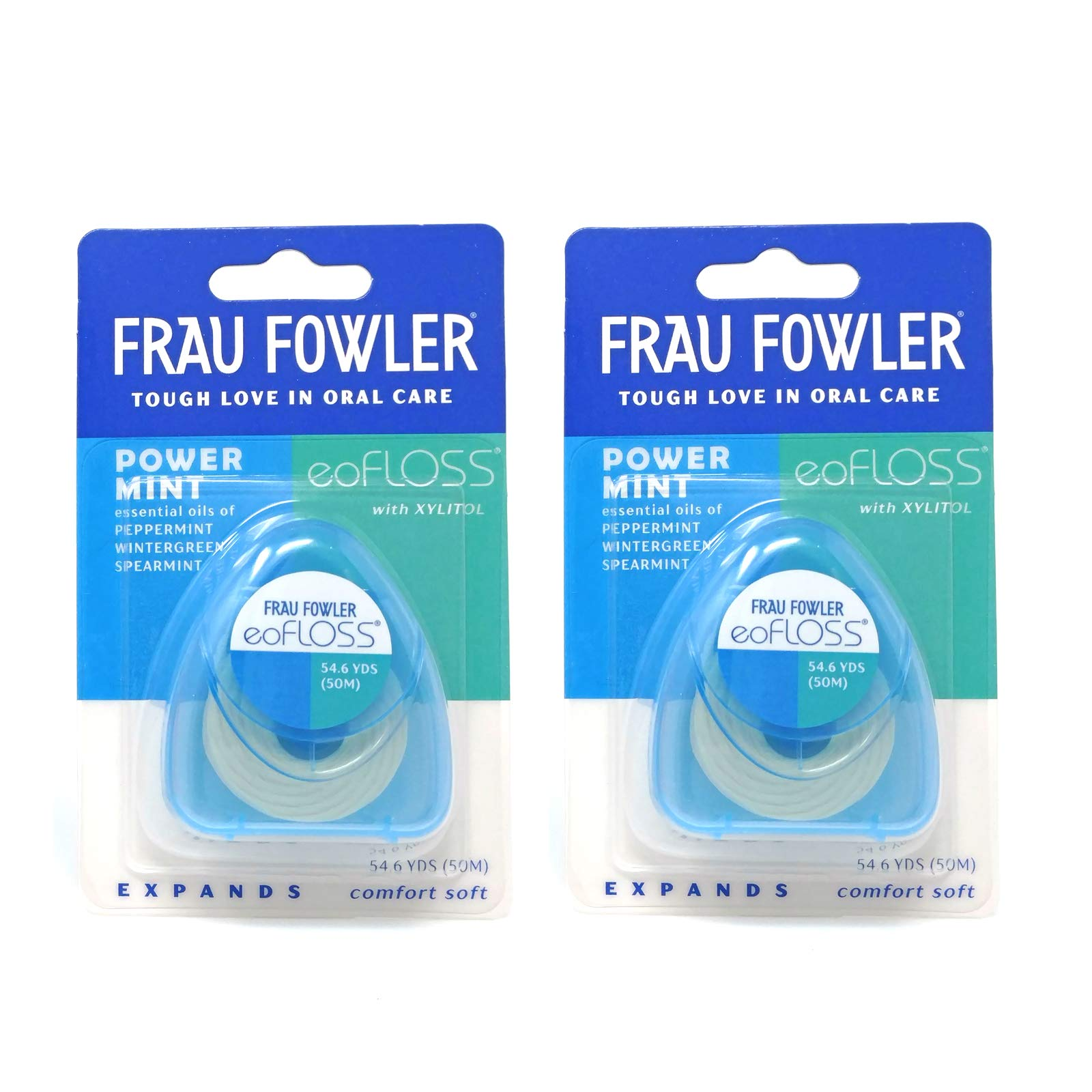 Frau Fowler eoFLOSS - Power Mint Dental Floss 2 Pack, Waxed, Expanding, Infused with Organic Essential Oils, 50m (54.6yds) each