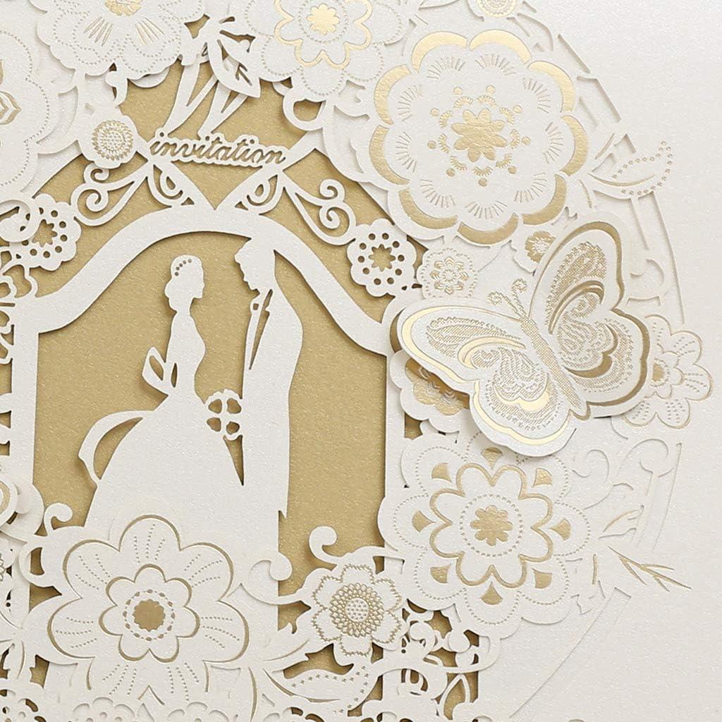 Blanc fian/çailles CYSKY Carte dinvitation de Mariage 50 Pack Kit dinvitations de Mariage d/écoup/é au Laser avec Papier Imprimable Vierge et enveloppes pour Mariage Anniversaire