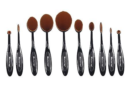Mackertop® [actualizado versión] profesional 10 pcs suave oval cepillo de dientes de maquillaje