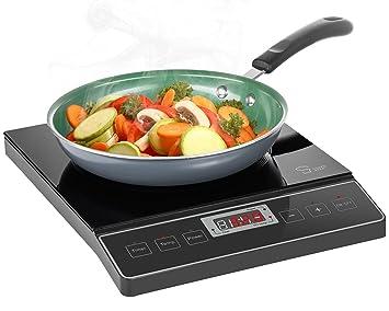 Chefs Star 1800W portátil inducción estufa Quemador encimera - 120V/60Hz - negro: Amazon.es: Hogar