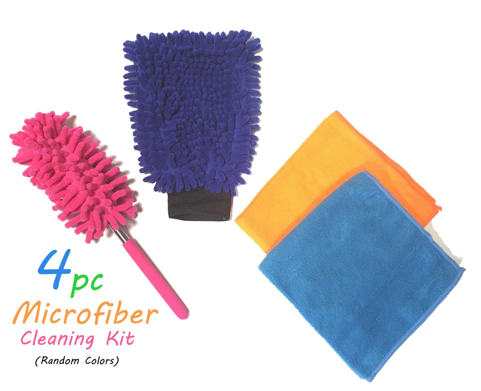4pc Azi Microfiber Cleaning Kit - Dusting Windows Kitchen Bathroom Mirrors Car Electronics