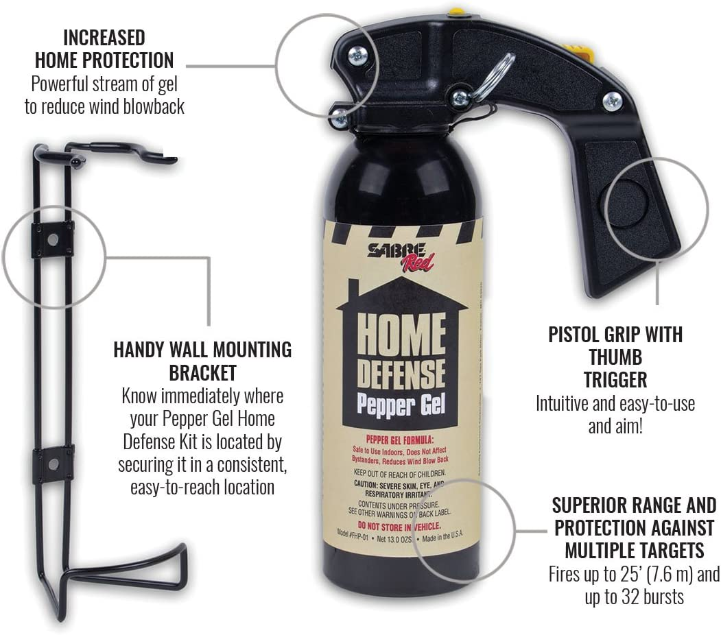 SABRE Red Pepper Gel – Police Strength – Family, Home Property Defense Gel with Wall Mount Bracket