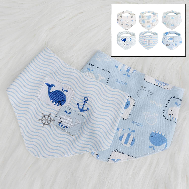 LHKJ 6 Pcs Baby Triangular Cloth Bib Super Absorbent and Soft for Teething Babies Girl Boy Burp Cloth Cotton Scarves
