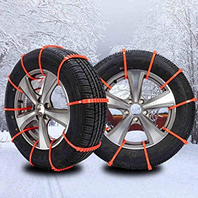 Jeremywell Universal Snow Tire Chain for Car Truck SUV - Anti-Skid Emergency Winter Driving Tire Cable Belts Fit Tire Wheel Widths 175-295 Orange (10 Pieces): Automotive