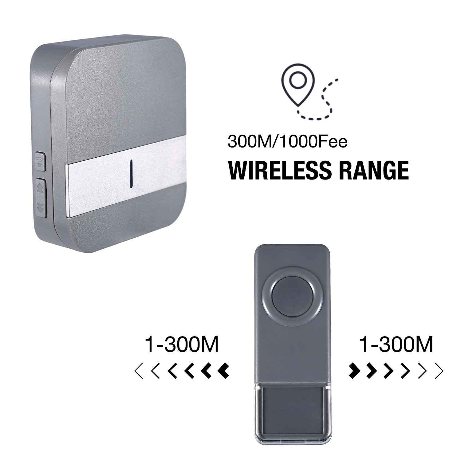 Portable Wireless Doorbell Kit Waterproof Musical Door Bell Electrical Wiring In The Home Deaf Doorbells Operating At 1000ft 300m Range Chimes 1 Push Button Transmitter 2 Receiver 52 Chime