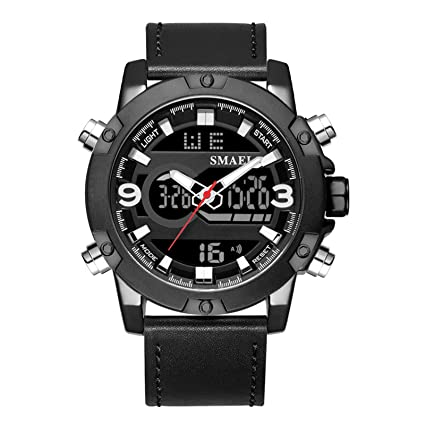 Blisfille Reloj Digital Analogico Reloj Acero Negro Hombre Relojes Hombre Reloj con Iluminacion Reloj Oro Rosa