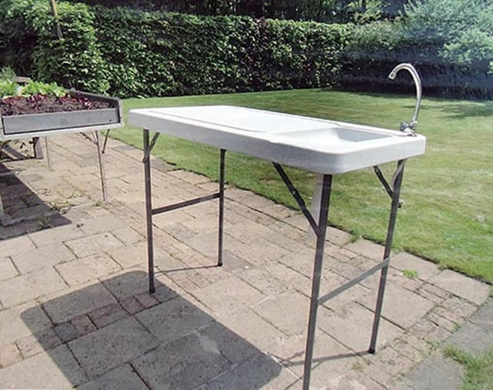 Campingtisch mit Spüle 115x60 cm Hochtisch für Campingküche oder zum ...