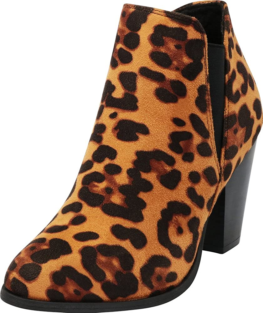 Leopard Imsu Cambridge Select Women's Western Stretch Stacked Chunky Heel Ankle Bootie