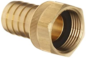 "Dixon BS848 Brass Hose Fitting, Machined Coupler with Swivel Nut, 1"" NPSH Female x 1"" Hose ID Barbed"