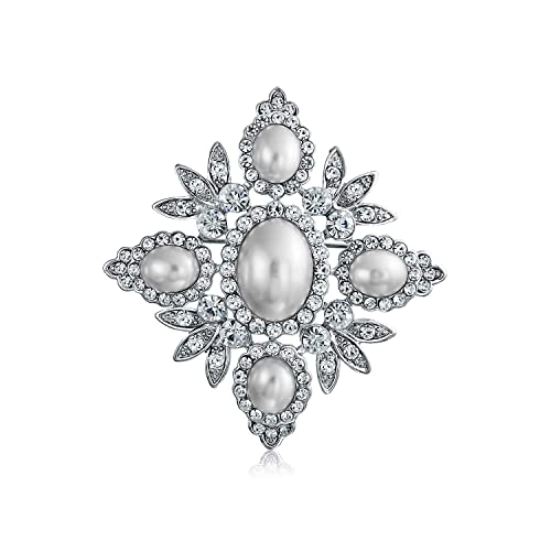 11b28da62 Amazon.com: Bling Jewelry Bridal Crystal White Fashion Simulated Pearl  Large Statement Leaf Flower Brooch Pin for Women for Mother Silver Plated:  Brooches ...