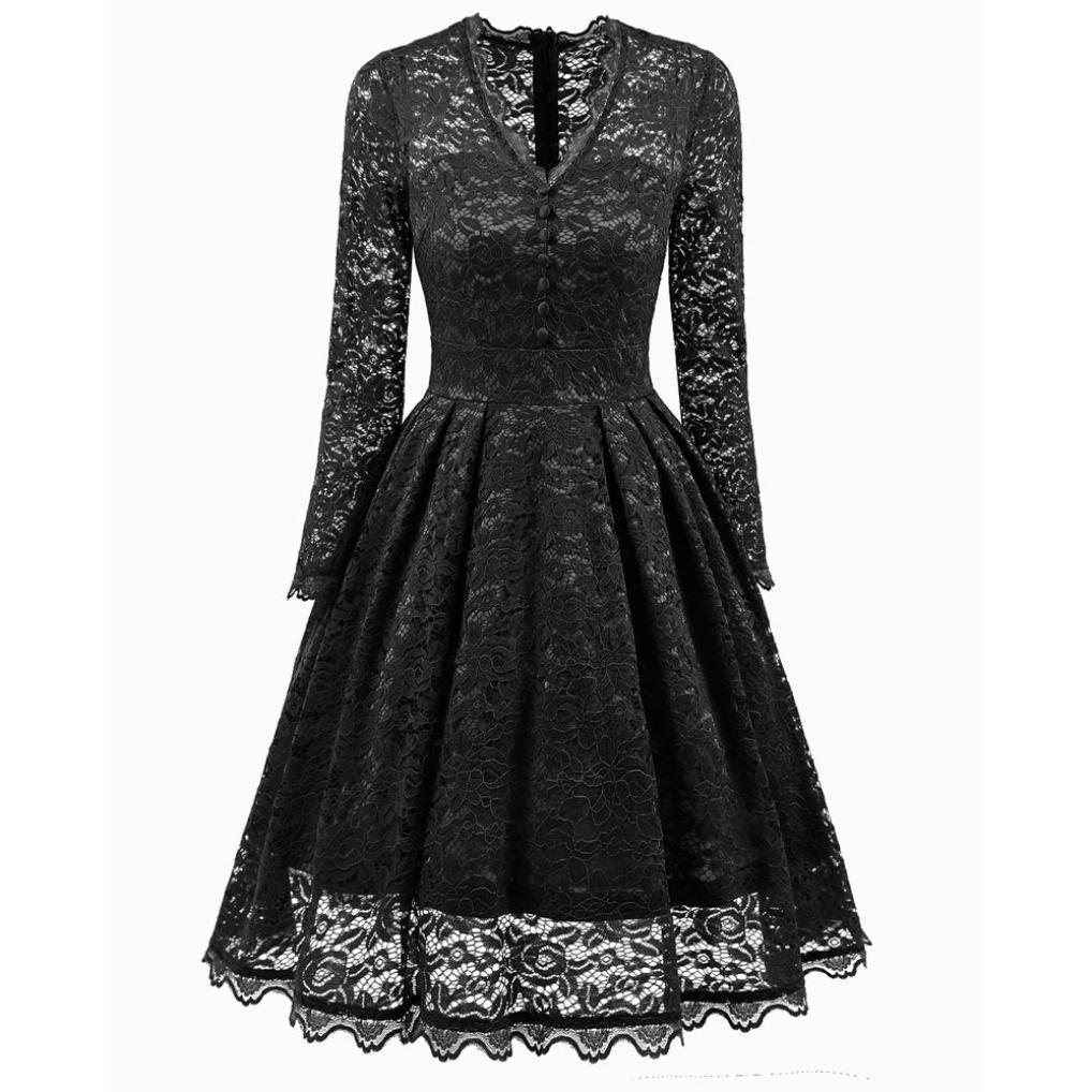 New Fashion Women V-Neck Long Sleeve Lace Dresses Vintage Button Decoration Cocktail Party Bridesmaid Dress (XL, Black)