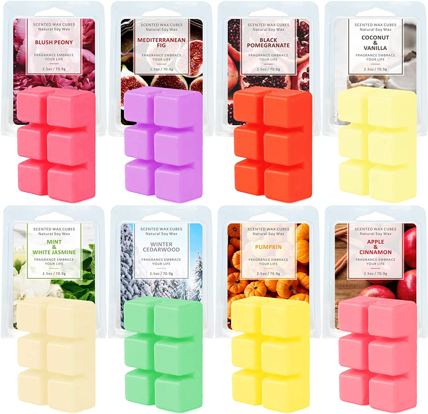 SnailDigit 8 Scents Scented Wax Melts for Home, Wax Cubes, 8 Scent Soy Wax Natural Soy Wax Melt
