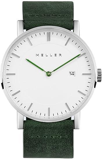 Meller Unisex Dag Bosque minimalista reloj con blanco pantalla analógica y correa de piel: Amazon.es: Relojes