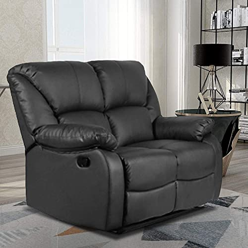 Recliner Sofa for Living Room Leather Recliner Loveseat Reclining Loveseat Sofa Manual Recliner Seating Sofa Loveseat, Black