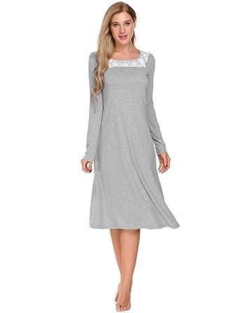 b2bfc4443a9e Skylin Women s Long Sleeve Sleepshirt Dress Long Nightshirt Nightgown Tops ( Grey