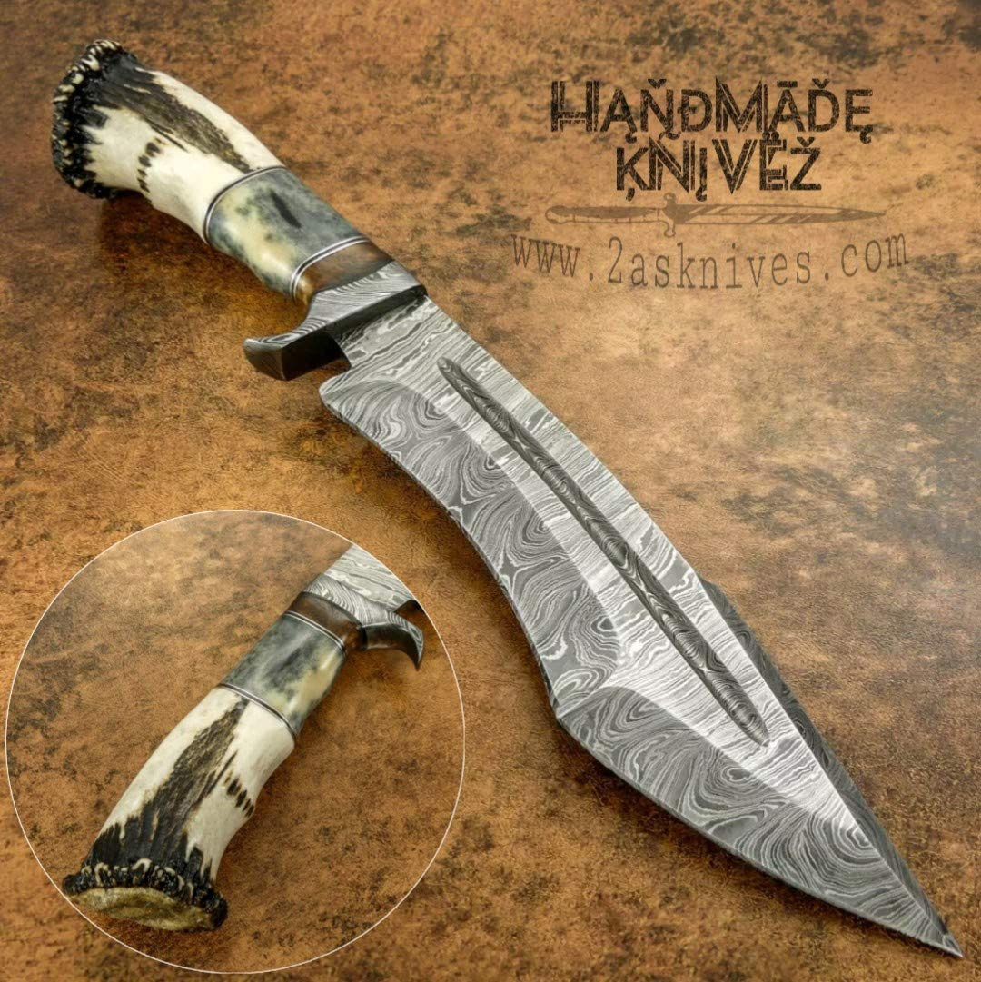 Amazon Com Handmade Knivez Beautiful Custom Handmade Damascus Steel Hunting Bowie Knife Stag Horn With Crown Dagger Skinner Axe Billet Cleaver Bar Folding Knife Tactical Edc Tool Kukri Sports Outdoors