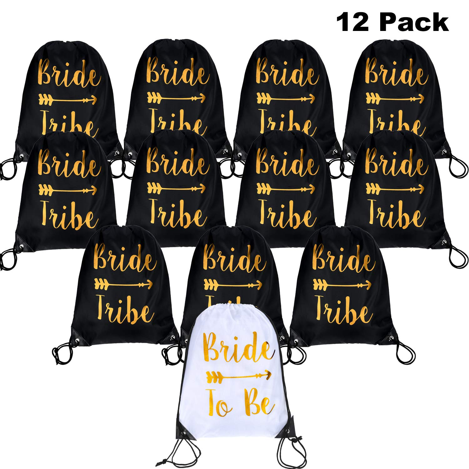 12 Pieces Bride and Bride Tribe Drawstring Bags Wedding Drawstring Gift Bag Bridal Party Favor Bags for Bridesmaids Bridal Party Bridal Shower, 16.5 x 13.4 inch (Black) by Maitys (Image #1)