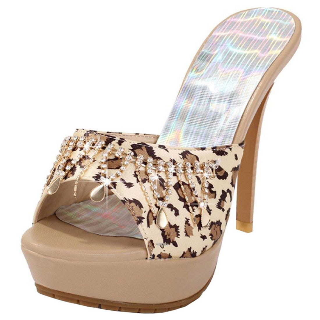 b8bc6469316 Amazon.com   Artfaerie Women's Stiletto Heel Leopard Print Mules ...