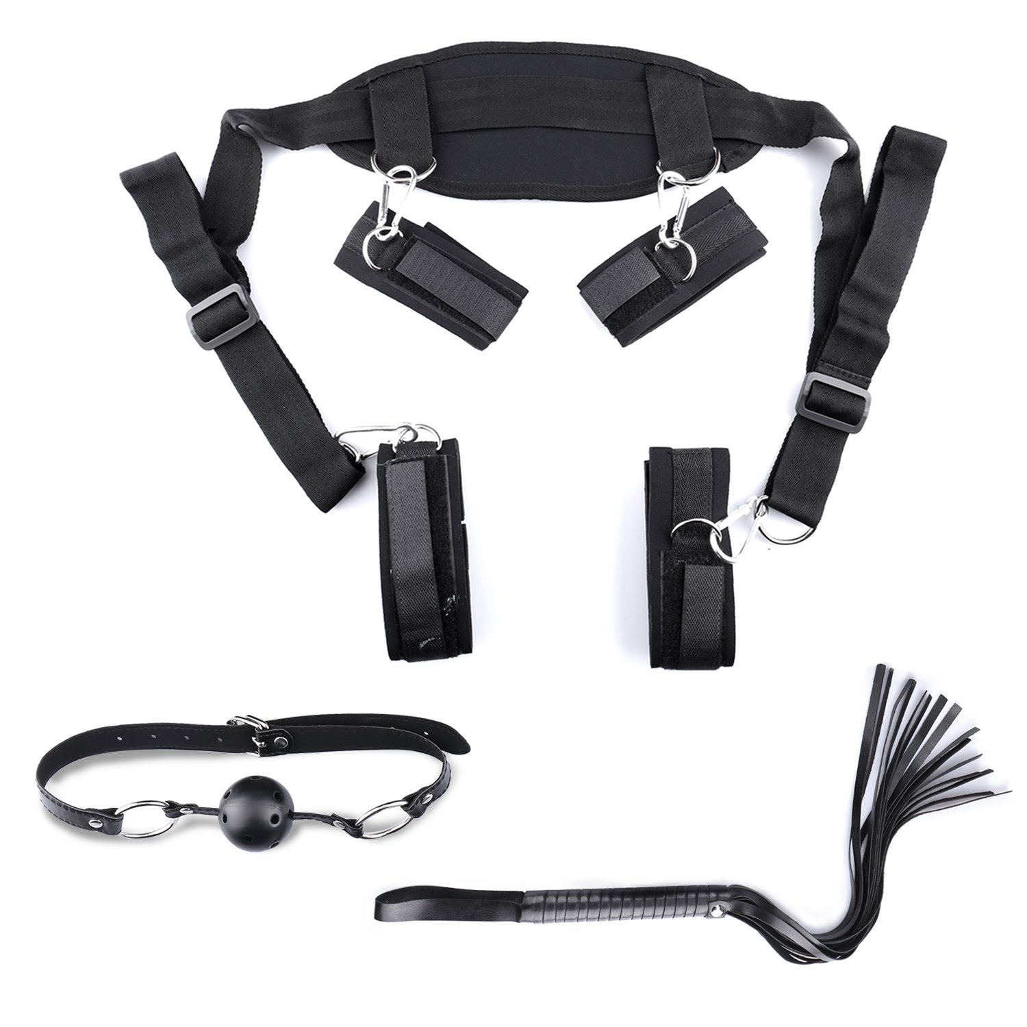 Bed Restraints Sex Bondage Kit SM BDSM S&M Leg Restraint System with Handcuffs Ankle Cuffs Whips Ball Gag Adults Fetish Sex Toys Sex Restraining Sets Gifts for Couples Men Women by Popbbie (Image #6)