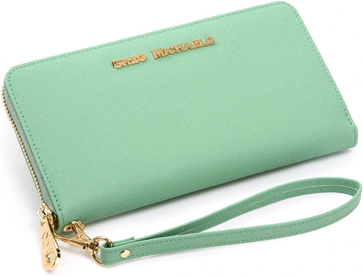 Pink Brown Black Blue Green Jessica Saffiano or Nappa Leather Wallet Wristlet by Greg Michaels