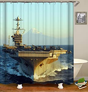 Eleroye 72 x 72 inches Shower Curtain US Navy Aircraft Carrier Battle Plane Helicopter EWR Aircraft Water Soap Resistant Machine Washable Fabric Bathroom Decor Set with Hook Bath Curtain