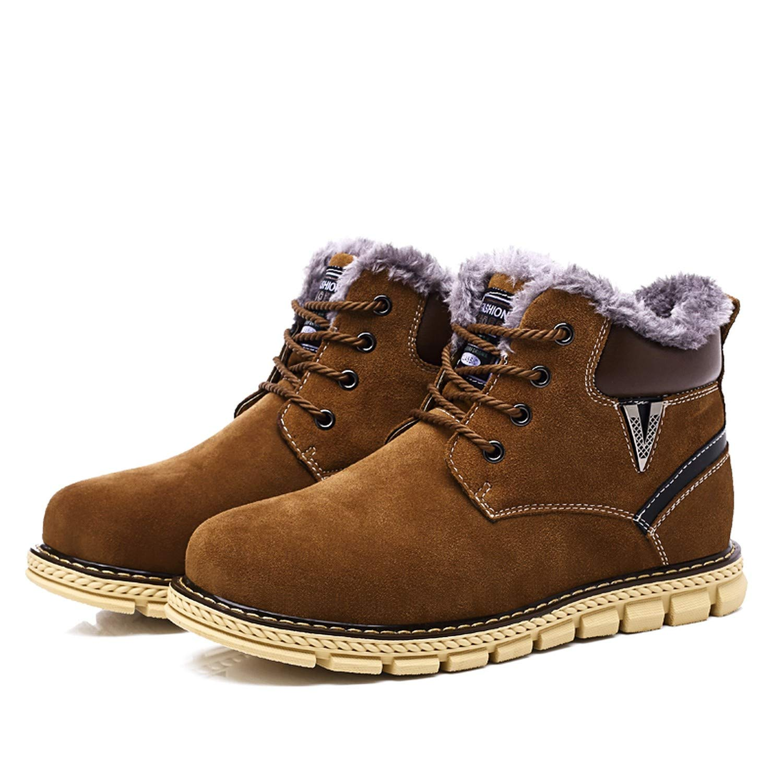 Genuine Leather Casual Men Boots Autumn Winter Warm Cotton Ankle Snow Boots Lace Up Men Shoes