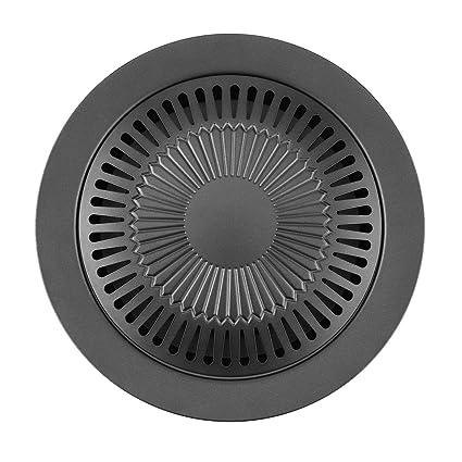 Delicacydex Forma Redonda portátil Sin Humo Parrilla para barbacoas para Interiores con brocha Antiadherente Bandeja para
