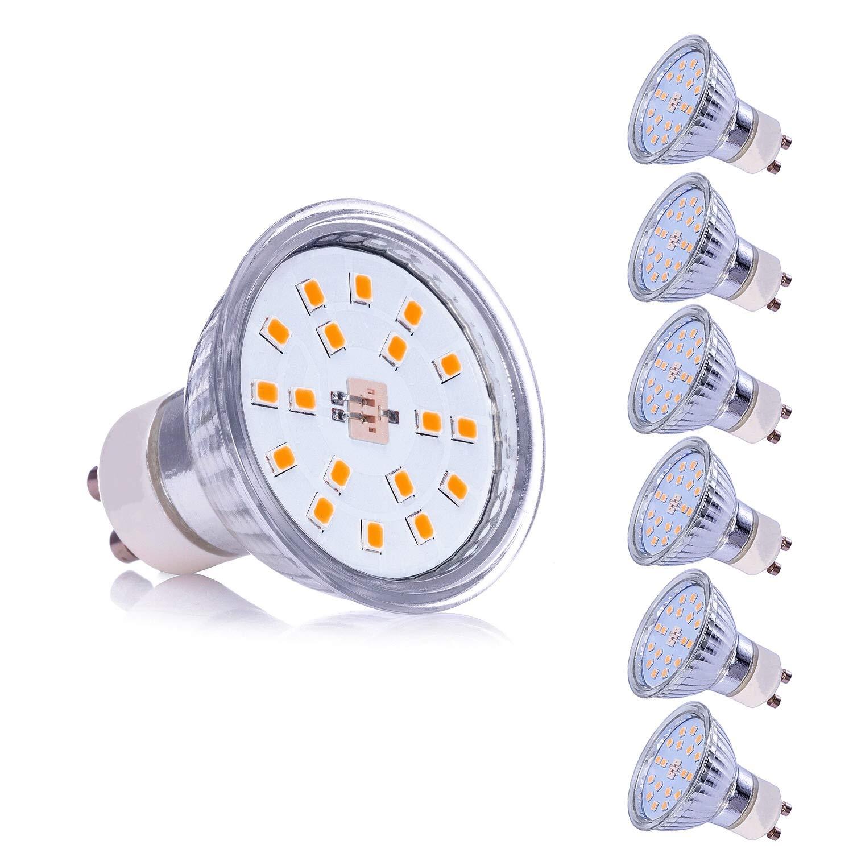 Bombilla LED GU5.3 MR16 12V 5W Blanco Calido Equivalente a Halogeno 35W Spot Luz 2800K GU 5.3 Foco Ojo de Buey 400 Lumen /Ø50 x 48 mm Pack de 10