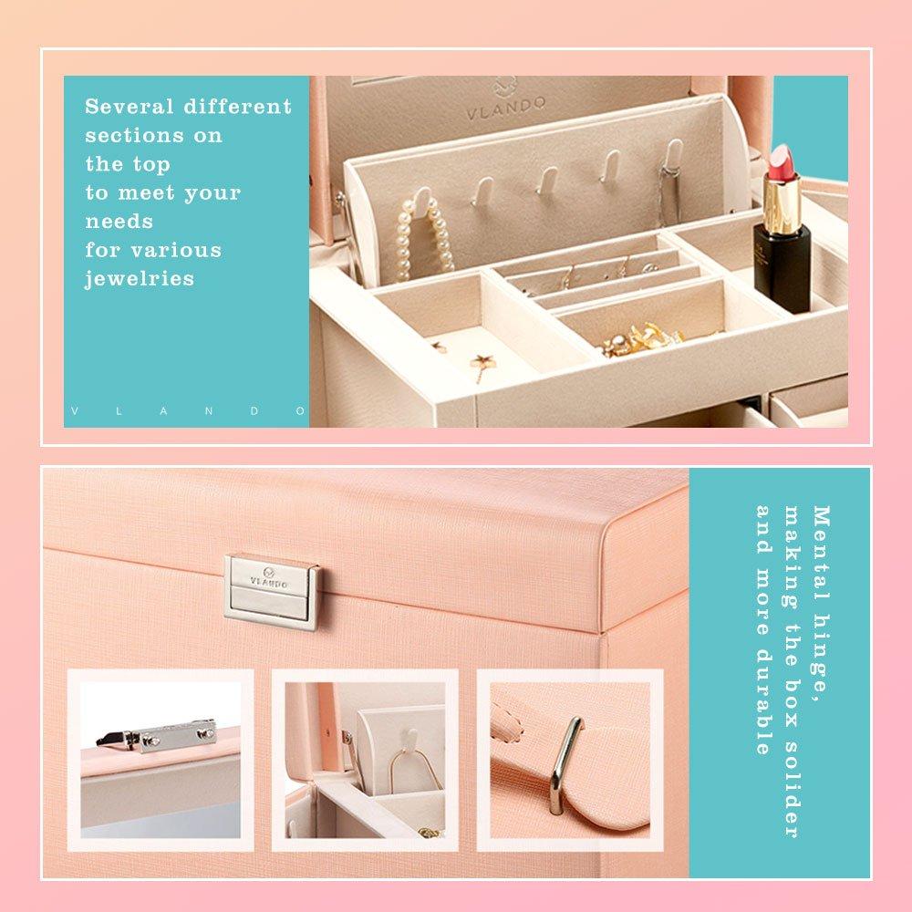Vlando Jewelry Box, Faux Leather Medium Jewelry Organizer, Vintage gift for Women -Pink-Cross Pattern by Vlando (Image #5)