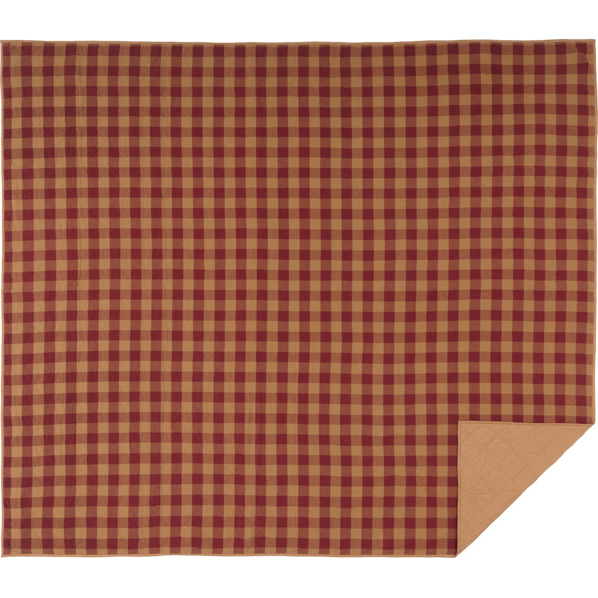Burgundy King VHC Brands Primitive Bedding Burgundy Check Quilted Coverlet, Twin,