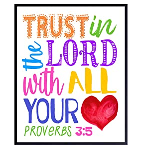 Religious Decor - Bible Verse Scripture Wall Art for Kids Bedroom, Boys, Girls Room, Bible Study, Church Sunday School - Inspirational Christian Gifts - Trust in the Lord With All Your Heart Proverbs