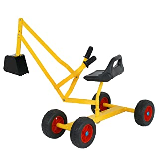 "F2C Heavy Duty Steel 49""x 15""x 18"" Big Sand Box Digger Toy with Wheels Kids Ride-on Working Crane Yellow Black"