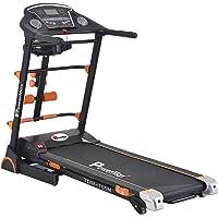 Powermax Fitness TDM-105M 2 HP/4 HP Peak Motorized Treadmill with Semi Auto Lubrication, Massager, Dumbbells, Sit up and Twister - Black