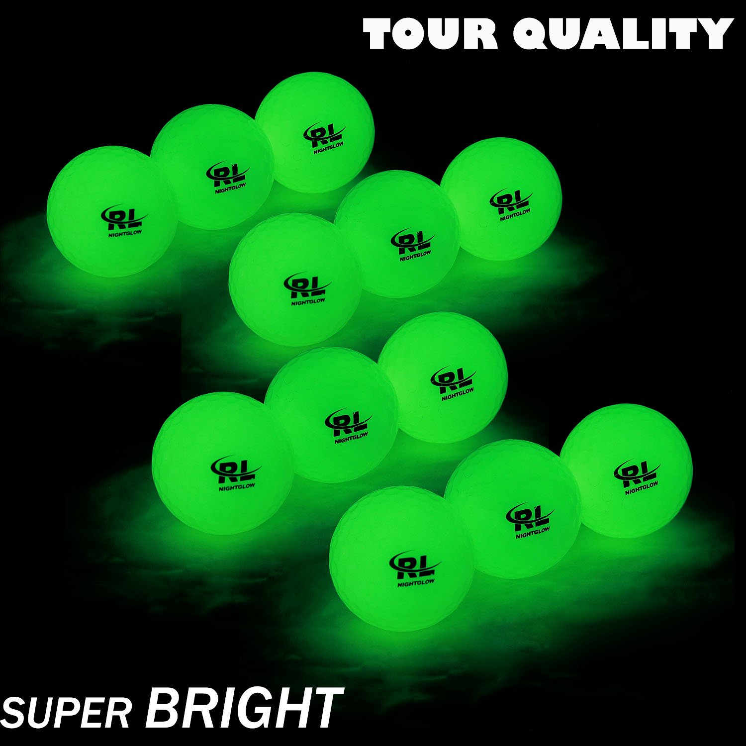 R&L Glow Golf Balls for Night Sports - Tournament Fluorescent Glowing in The Dark Golf Ball - Long Lasting Bright Luminous Balls Rechargeable with UV Flashlight - Included (6 Pack) by R&L