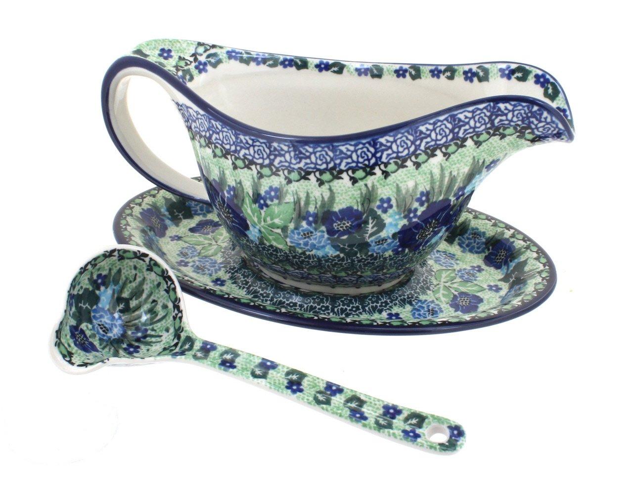 Blue Rose Polish Pottery Sapphire Fields Gravy Boat & Ladle