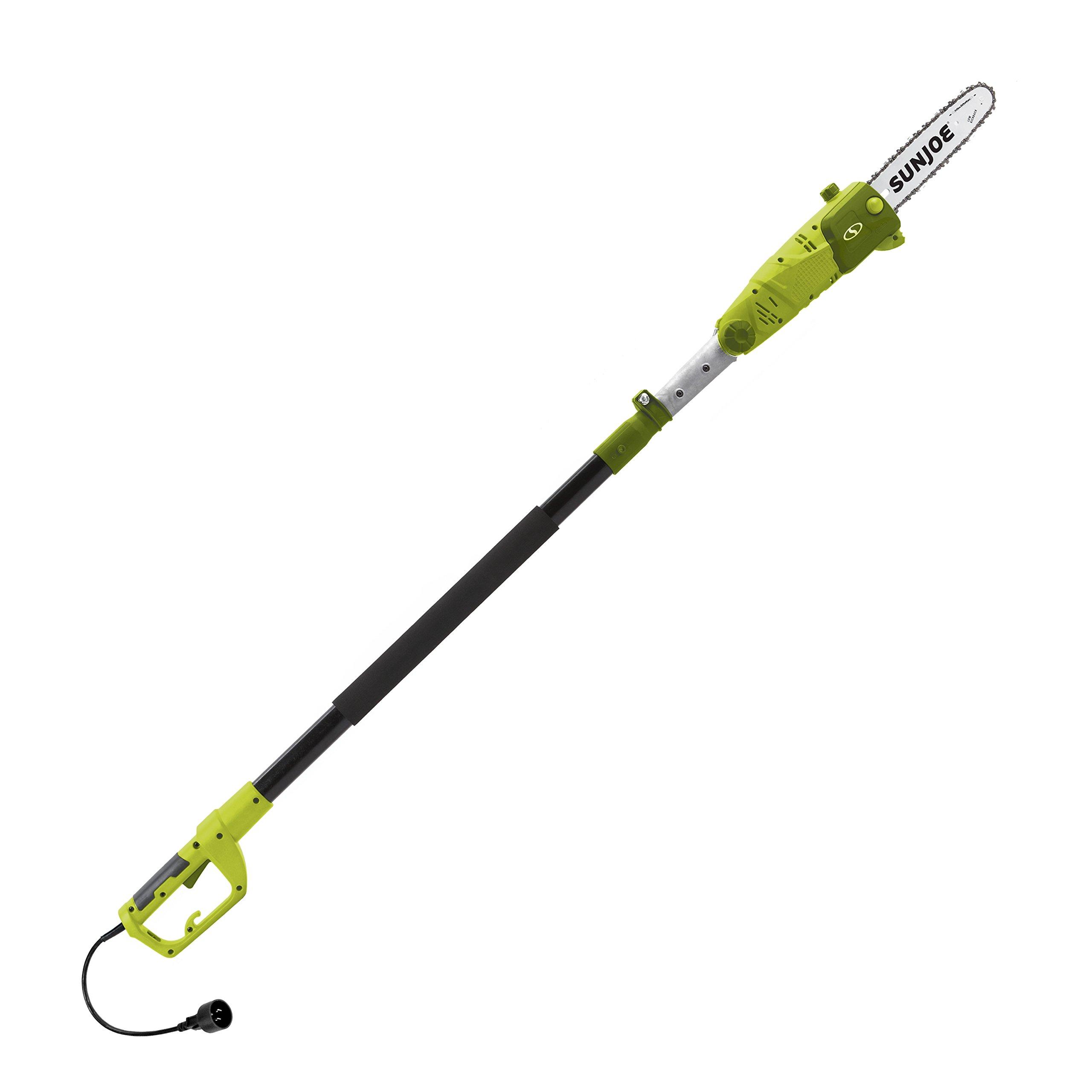 Sun Joe SWJ803E-RM 10'' 8-Amp Multi-Angle Telescopic Electric Pole Chain Saw, Green