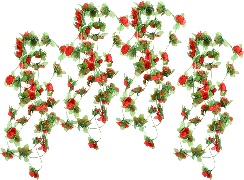 BESPORTBLE 4 Piezas de Guirnalda de Flores de Seda de Vid de Rosa Artificial Que Cuelgan Rosas Falsas Plantas de Flores Hojas Verdes Ramita de Ratán para Centros de Mesa de Jardín en Casa