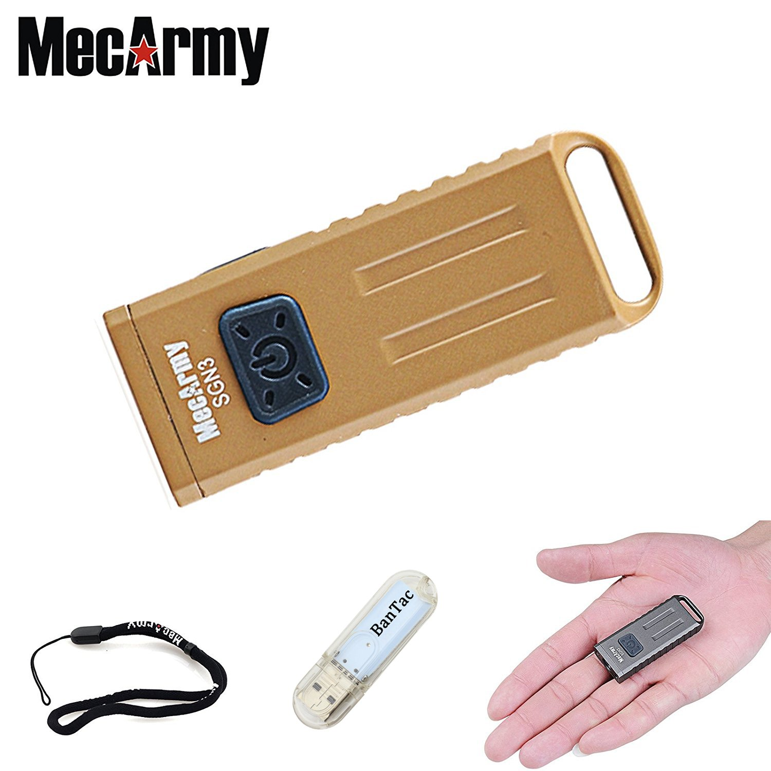 MecArmy SGN3 EDC Mini Torches 160 Lumen Micro Sized CREE XP-G2 LED Torch Rechargeable Waterproof Keychain Flashlight with UV and Red LEDs for Everyday Carry + THENINES USB Lights .LTD MecArmy-SGN3