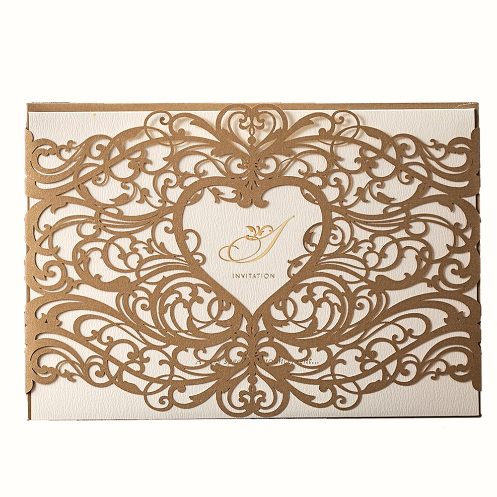 Amazon Com Wishmade 50 Gold Laser Cut Wedding Invitations Cardstock